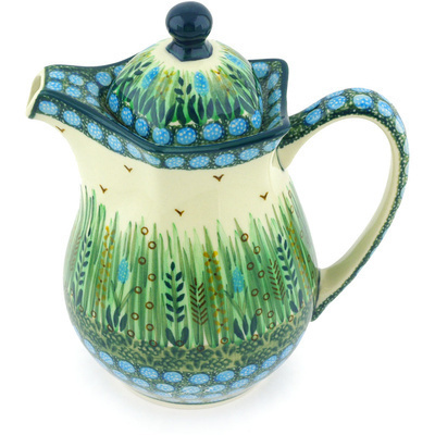 Polish Pottery Pitcher with Lid 30 oz Prairie Land UNIKAT