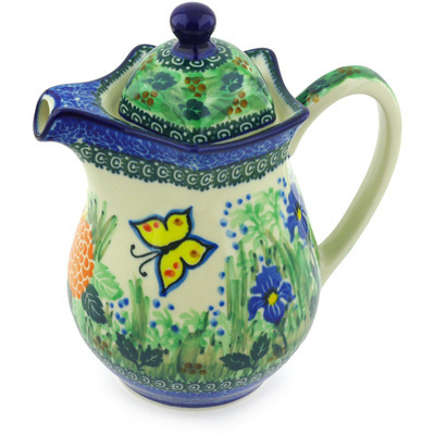 Polish Pottery Pitcher with Lid 30 oz Spring Garden UNIKAT