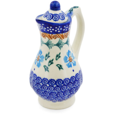 Polish Pottery Pitcher with Lid 4 oz Blue Cornflower