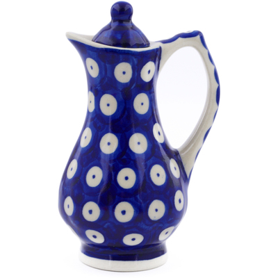 Polish Pottery Pitcher with Lid 4 oz Blue Eyed Peacock