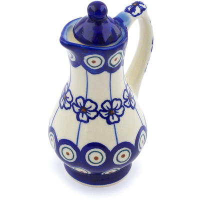 Polish Pottery Pitcher with Lid 4 oz Flowering Peacock