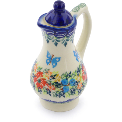 Polish Pottery Pitcher with Lid 4 oz Ring Of Flowers UNIKAT