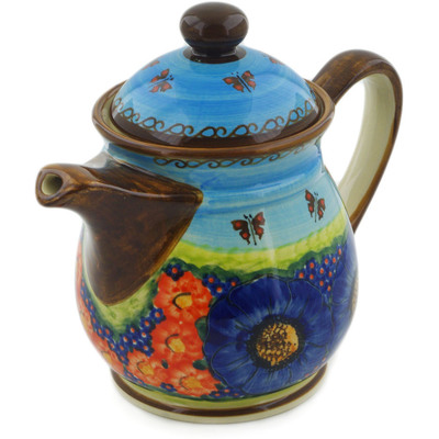 Polish Pottery Pitcher with Lid 50 oz Field Of Butterflies UNIKAT