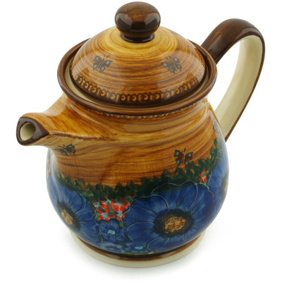 Polish Pottery Pitcher with Lid 50 oz Tropical Wildflowers UNIKAT