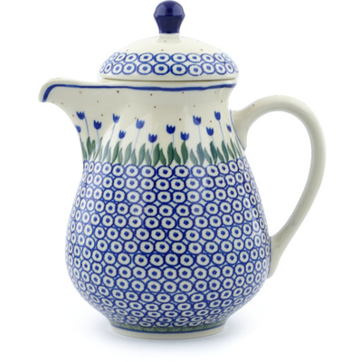 Polish Pottery Pitcher with Lid 52 oz Blue Tulip Circle