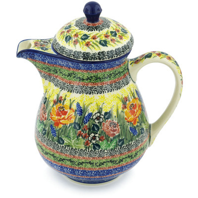 Polish Pottery Pitcher with Lid 52 oz Copper Rose Meadow UNIKAT