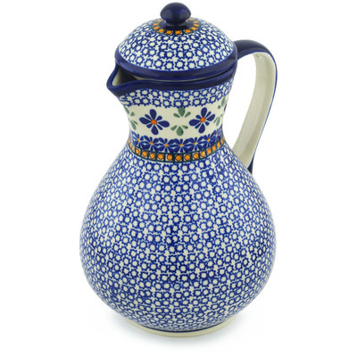 Polish Pottery Pitcher with Lid 64 oz Gangham Flower Chain