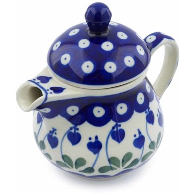 Polish Pottery Pitcher with Lid 8 oz Bleeding Heart Peacock