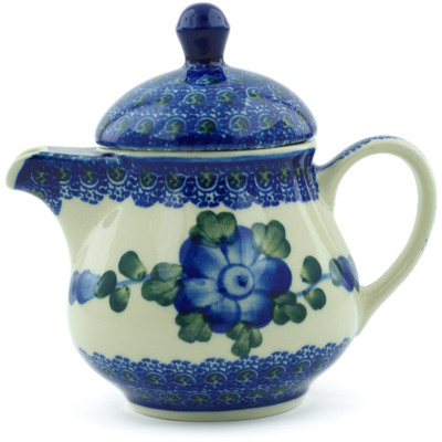 Polish Pottery Pitcher with Lid 8 oz Blue Poppies