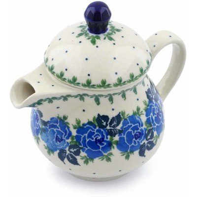 Polish Pottery Pitcher with Lid 8 oz Floral Spring