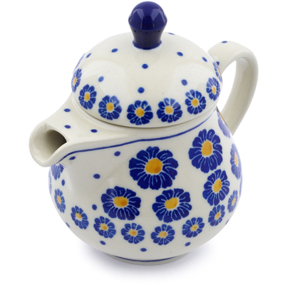 Polish Pottery Pitcher with Lid 8 oz Flower Pads