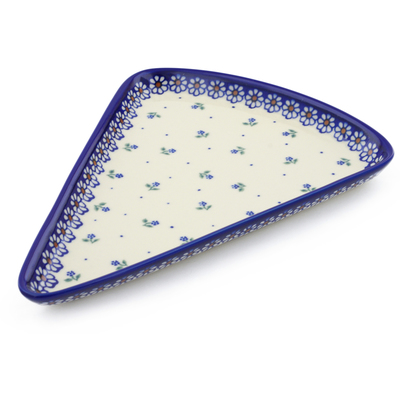 "Polish Pottery Pizza Plate 12"" Daisy Garden"