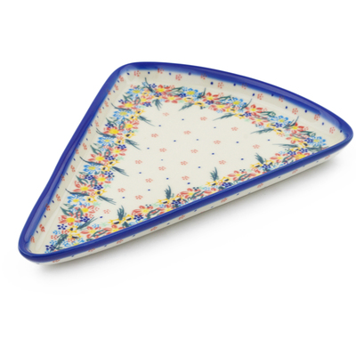 "Polish Pottery Pizza Plate 12"" Wildflower Parade UNIKAT"