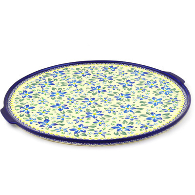 "Polish Pottery Pizza Plate 17"" Blue Clematis"