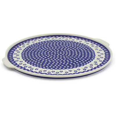 "Polish Pottery Pizza Plate 17"" Bright Peacock Daisy"