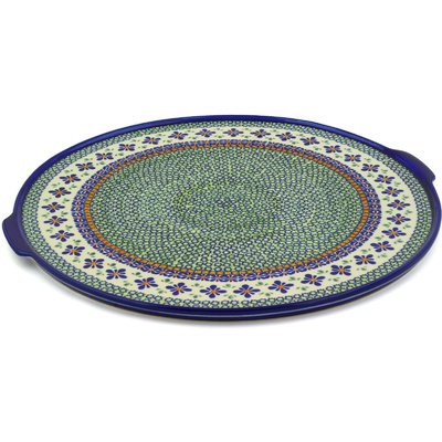 "Polish Pottery Pizza Plate 17"" Gingham Flowers"