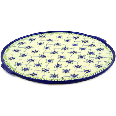 "Polish Pottery Pizza Plate 17"" Gingham Trellis"