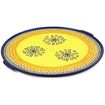 "Polish Pottery Pizza Plate 17"" Golden Tulip UNIKAT"