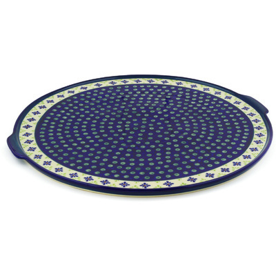 "Polish Pottery Pizza Plate 17"" Green Gingham Peacock"