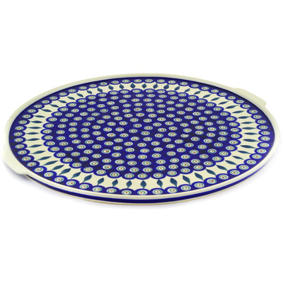 "Polish Pottery Pizza Plate 17"" Peacock Leaves"