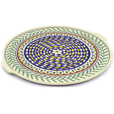 "Polish Pottery Pizza Plate 17"" Pine Boughs"