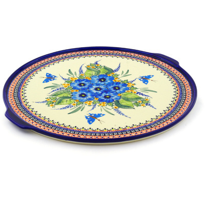 "Polish Pottery Pizza Plate 17"" Summer Splendor UNIKAT"
