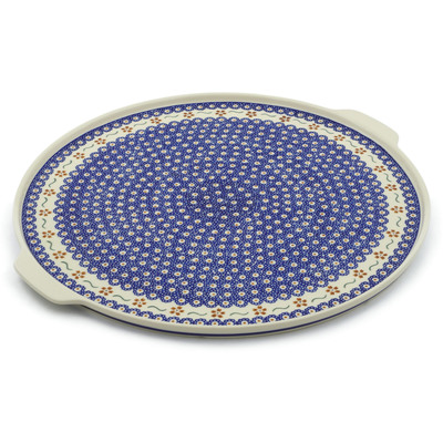 "Polish Pottery Pizza Plate 17"" Sweet Red Flower"