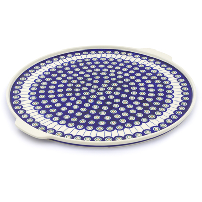 "Polish Pottery Pizza Plate 17"" Traditional Peacock"