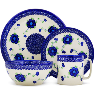 "Polish Pottery Place Setting 10"" Blue Poppies"