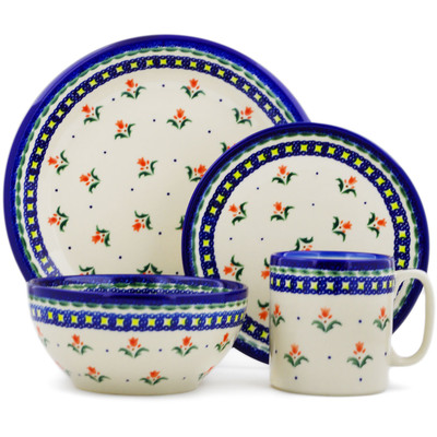 "Polish Pottery Place Setting 10"" Cocentric Tulips"