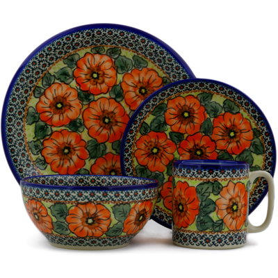 "Polish Pottery Place Setting 10"" Fiery Poppies UNIKAT"