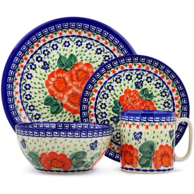 "Polish Pottery Place Setting 10"" Happiness UNIKAT"