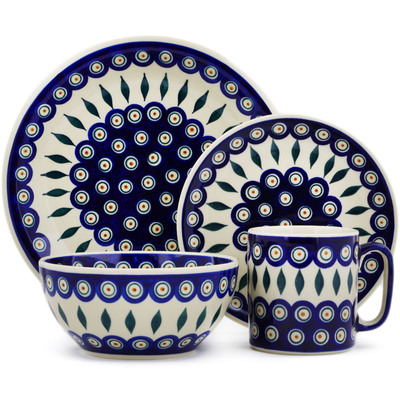 "Polish Pottery Place Setting 10"" Peacock"