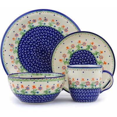 "Polish Pottery Place Setting 10"" Spring Flowers"