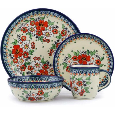 Polish Pottery Place Setting 11  Flower Heaven UNIKAT  sc 1 st  Polmedia Polish Pottery & Polish Pottery dinnerware sets