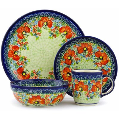 "Polish Pottery Place Setting 11"" Garden Meadow UNIKAT"