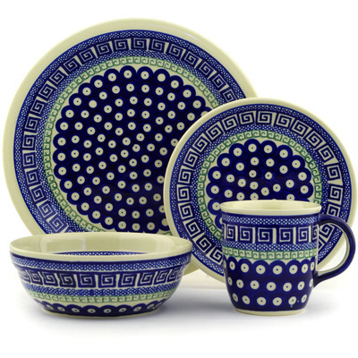 "Polish Pottery Place Setting 11"" Grecian Peacock"