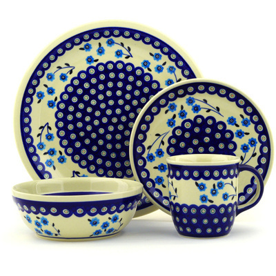 "Polish Pottery Place Setting 11"" Peacock Poppies"