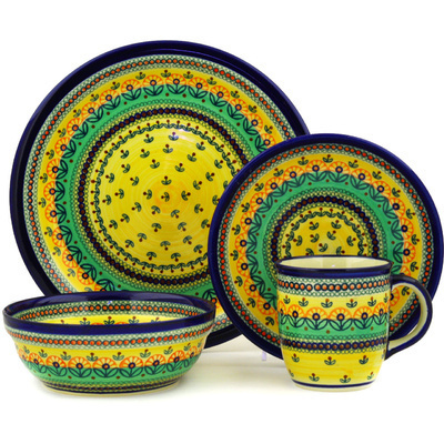 "Polish Pottery Place Setting 11"" Prairie Sunrise UNIKAT"