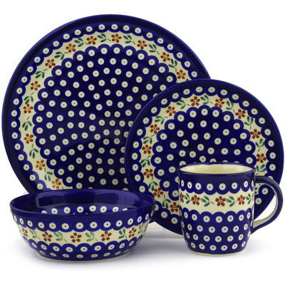 "Polish Pottery Place Setting 11"" Red Daisy Peacock"