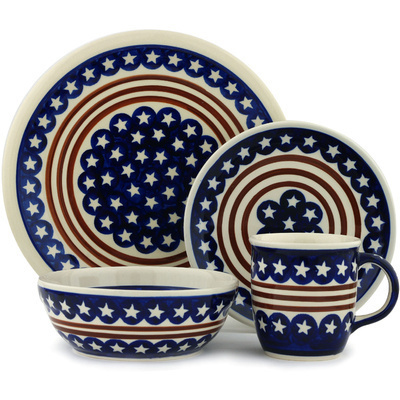 "Polish Pottery Place Setting 11"" Stars And Stripes Foreve"