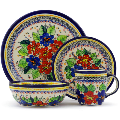 "Polish Pottery Place Setting 11"" Summer Sleandor UNIKAT"