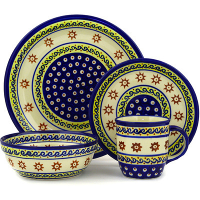 "Polish Pottery Place Setting 11"" Sun And Sea"