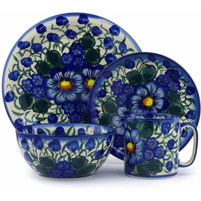Polish Pottery Place Setting 4-Piece: Mug, Bowl, Dinner Plate, Side Plate Blue Violet UNIKAT
