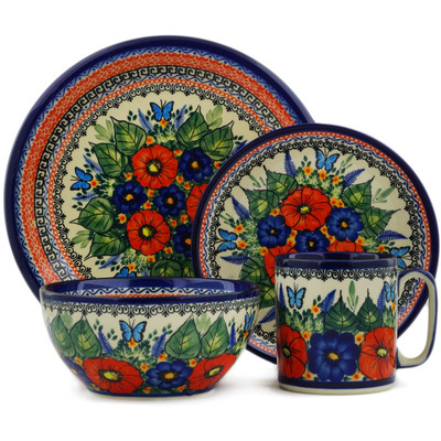 Polish Pottery Place Setting 4-Piece: Mug, Bowl, Dinner Plate, Side Plate Butterfly Paradise UNIKAT