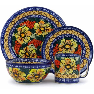 Polish Pottery Place Setting 4-Piece: Mug, Bowl, Dinner Plate, Side Plate Colorful Bouquet UNIKAT