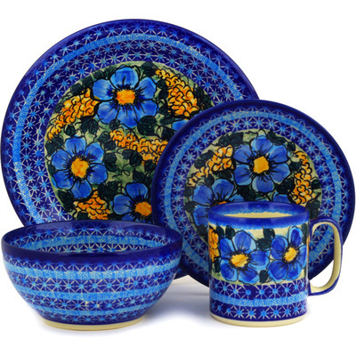 Polish Pottery Place Setting 4-Piece: Mug, Bowl, Dinner Plate, Side Plate Corn In The Blue UNIKAT