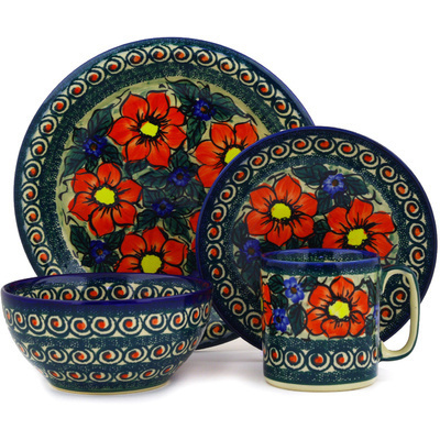 Polish Pottery Place Setting 4-Piece: Mug, Bowl, Dinner Plate, Side Plate Havana UNIKAT