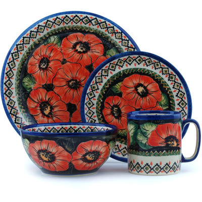 Polish Pottery Place Setting 4-Piece: Mug, Bowl, Dinner Plate, Side Plate Poppy Passion UNIKAT