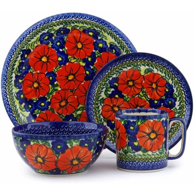 Polish Pottery Place Setting 4-Piece: Mug, Bowl, Dinner Plate, Side Plate Red Star UNIKAT